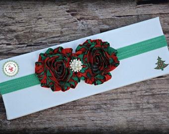 Christmas Green Red Swirl Nautical Beach Headband Infant Baby Toddler Girl Prop Gift Present