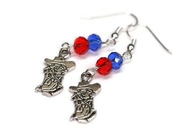 Colonel Reb, Ole Miss dangle earrings with blue and red Swarovski crystal bead University of Mississippi, Game Day Jewelry, The Grove