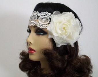 1920s Headband, Bohemian Headband,  Flapper Headband, Flapper Headpiece, Bridal  Headpiece, Venice Lace, Ivory Rose, 1920s Hair Accessory