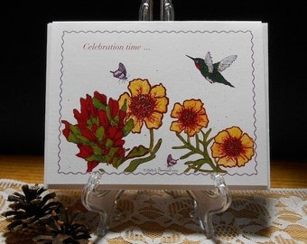 Celebration Card/celebrate a birthday/graduation/new job/new business/Blank inside Note Card - Pkg of 5 or Individual
