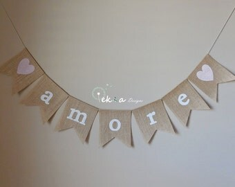 Burlap AMORE banner / Burlap wedding banner / Burlap wedding bunting / Wedding Photo Props / Wedding Garland