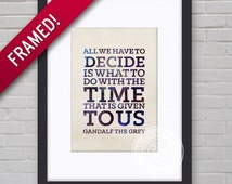 0077F Lord of the Rings Typography Wall Art Framed Print
