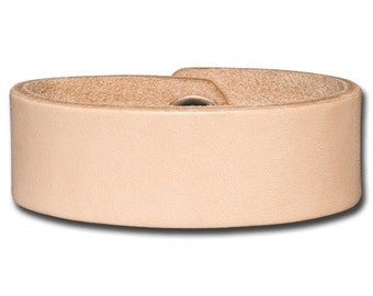 Leather Wristband 24mm Natural with Snap Fastener Nickel Free