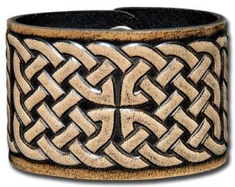Leather Bracelet 48mm Celtic Knotwork (1) black-antique