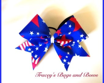 Cheer Bow~Patriotic Red White and Blue~softball bow