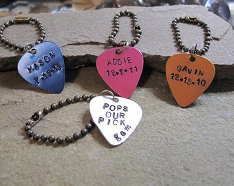 Personalized Guitar Pick keychain, Customized hand stamped guitar pick, Gift for Husband, Father, Boyfriend, memorial gift