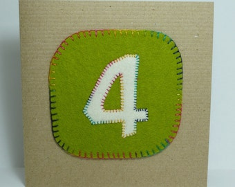Green 4 Birthday fabric card for four year old girl or boy hand stitched rainbow stitching