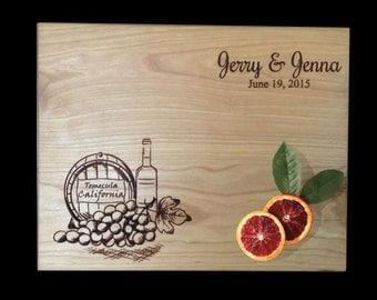 Personalized Cutting Board: Rustic Winery Wedding Gift, Vinyard Wedding Present Bridal Shower Gift Anniversary/ Kitchen Decor Chopping Board