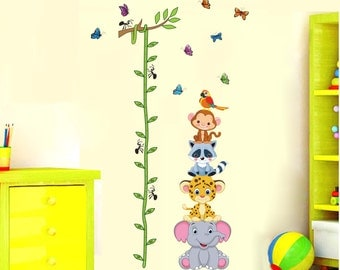 Jungle Animal Height Chart Nursery Kids Baby Wall Decals / Wall Stickers - AW1003