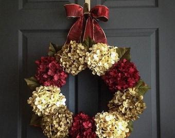 Christmas Wreaths | Hydrangea Wreaths | Holiday Door Wreath | Christmas Decorations | Front Door Wreaths
