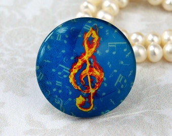 25mm 30mm Music Note Vintage cabochon Handmade glass photo cabochon 30M015