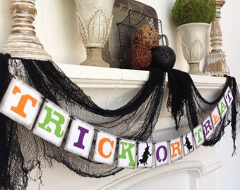 FREE Shipping  --  TRICK or TREAT Halloween banner garland bunting decoration