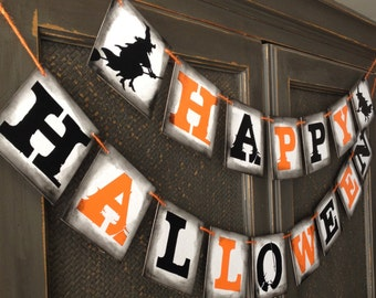 FREE Shipping  --  HAPPY HALLOWEEN banner garland bunting decoration