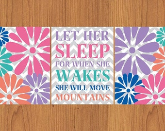Let Her Sleep For When She Wakes And Though She Be But Little She is Fierce Chevron Colorful Nursery Wall Art Flower Burst Set Of 3 (196)