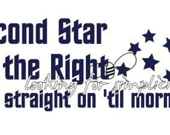 Second Star to the Right and straight on 'til morning Quote Decal /Sticker