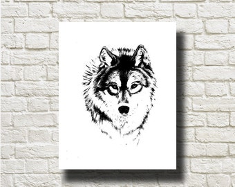 Wolf Animal Silhouettes Printable Graphics Instant Download AN13043