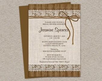 Rustic Bridal Shower Invitation | Burlap And Lace Bridal Shower Invite | Printable Rustic Country Wedding Shower Invitations Twine Wood