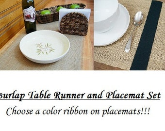 Burlap Table Runner And Placemat Set, Plain Table Runner and Color Ribbon Placemats, Choose Size and Set Quantity