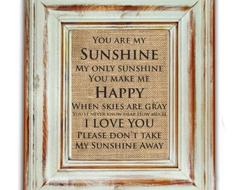 Delicieux You Are My Sunshine Wall Art / You Are My Sunshine Print / Burlap Art Print