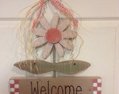 Primitive Flower, Door Hanger, Wall Hanging, Spring Flower, Flower, Spring Door Hanger, Wood Flower, Think Spring, Gift