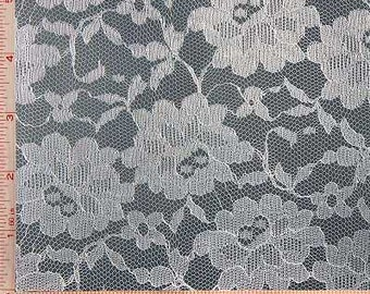 White Big Flower Lace Fabric Polyester 58-60""
