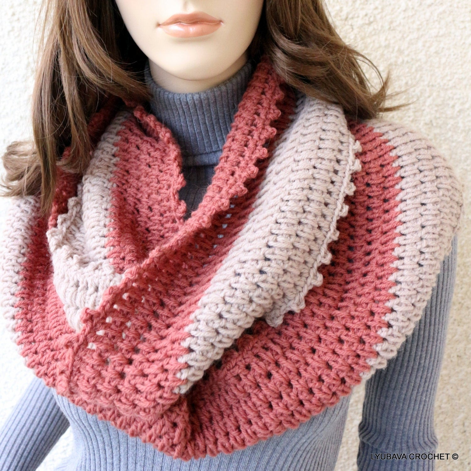 Crochet Scarf Infinity Scarf Two Colors by CrochetedByLyubava