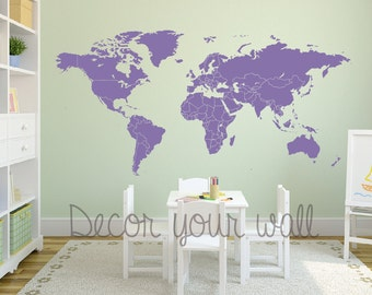 World map decal separated countries. Wall decal. Map wall decal. Removable