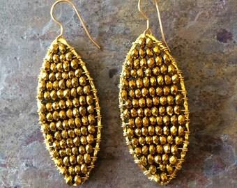 Gold pyrite filled hoop earrings