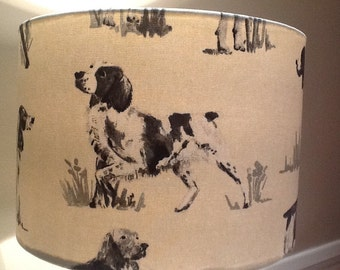 Handmade 30cm Drum Lampshade in a Working Dog Print Fabric.