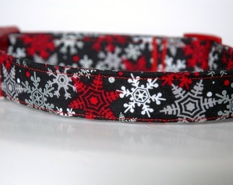 "Handmade Christmas Black w Snowflake Design Dog Collar ""New"""