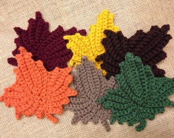 Crochet Leaf Coasters - Set of 6 - PERFECT FOR FALL