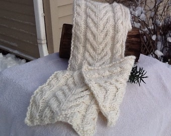 White cable knit scarf, winter white chunky knit, cable pattern, infinity length, soft alpaca and acrylic blend for warmth