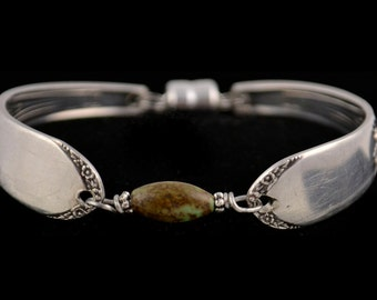Spoon Bracelet with Green Magnesite Stone, Recycled Silverware, Bridesmaid Jewelry Devonshire Silver Plate