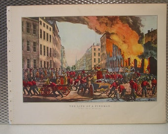 CURRIER & IVES Vintage 1952 The Life of a Fireman The Ruin Fighting City Fire