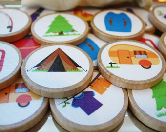 Camping Wooden memory Match Game, Educational Toy, Educational Game, Montessori Toy, Waldorf Game, Personalized Game, Camping Party