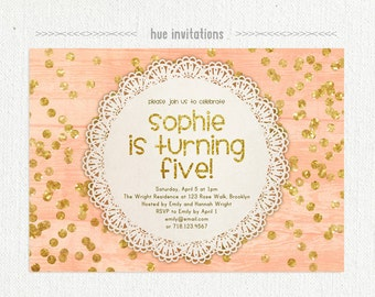coral and gold glitter girls 5th birthday party invitation, 5th birthday invite for girls, shabby rustic lace doily gold confetti, 5x7 549
