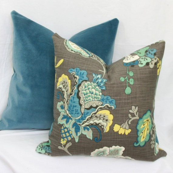 Jacobean Decorative Pillows : Items similar to Blue & grey Jacobean floral decorative throw pillow cover. 18