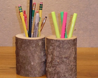 Natural Branch Pencil Cup with Bark