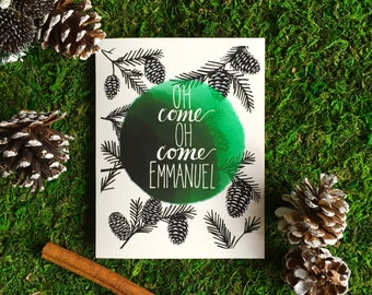 O Come Emmanuel Holiday Card-Christmas Carol Lyric Series