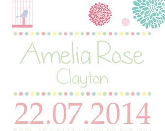 Personalised new baby girl wall art print