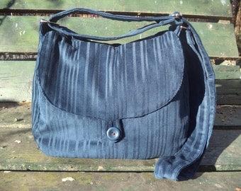 Blue corduroy shoulder bag,buttoned bag