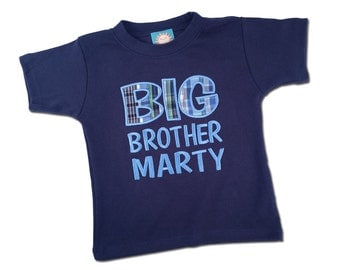 Boy's 'Big Brother' Shirt with Madras Plaid and Embroidered Name