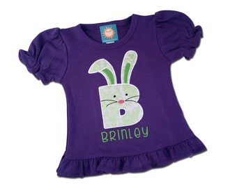Girl's Easter Shirt with Easter Bunny Initial and Embroidered Name