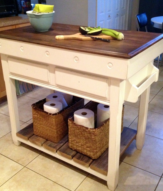 Farmhouse Chic Rustic Cottage Kitchen Island