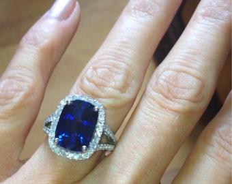 Sapphire Engagement Ring 13x9mm Long Cushion Cut Blue Sapphire Natural Diamonds .66ct 14k White Gold Split Shank Engagement Wedding Ring