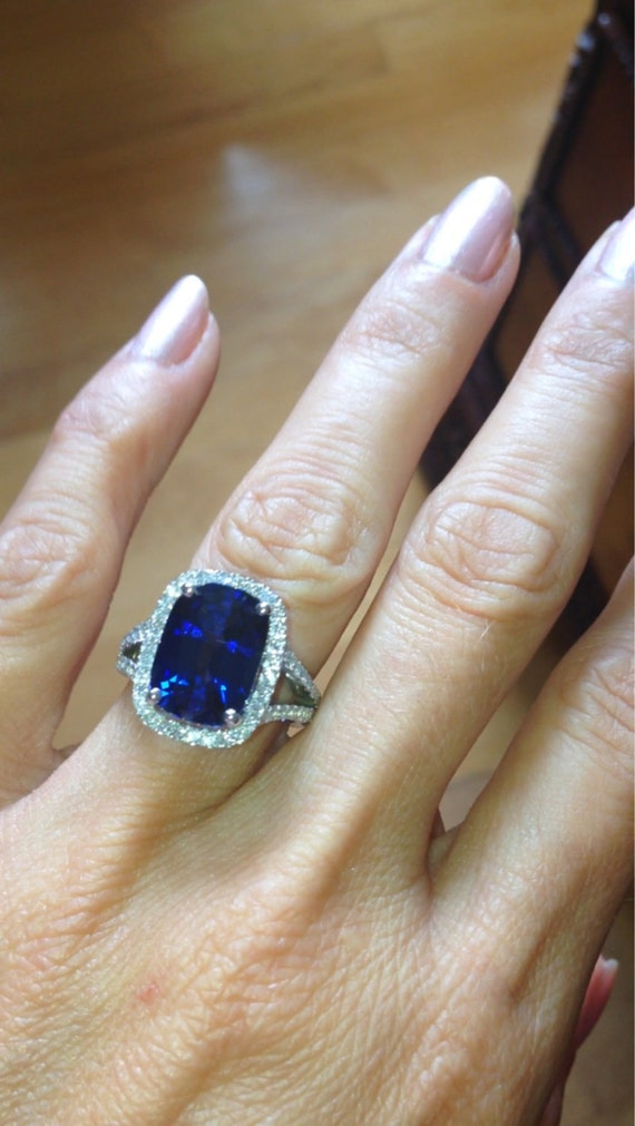 Sapphire Engagement Ring 13x9mm Long Cushion Cut Blue Sapphire