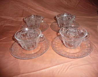 Fostoria Corsage 4 cup and saucers very nice condition