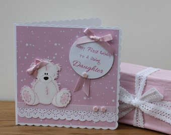 Handmade Boxed First Birthday Card for a Girl