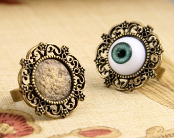 5pcs  Antique Bronze  Ring , Adjustable Rings With 15mm Filigree  Pad RB014a