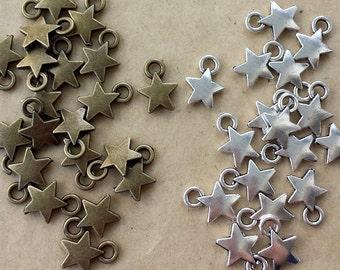 50pcs 9x12mm Cute Antique Bronze Star Charm ,Antique Silver Star Pendant ABS01